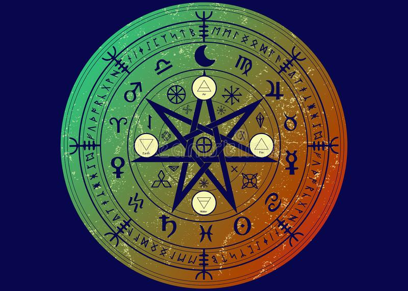 Wiccan symbol of protection. Set of Mandala Witches runes, Mystic Wicca divination. Ancient occult symbols, Earth Zodiac Wheel. Of the Year Wicca Astrological royalty free illustration