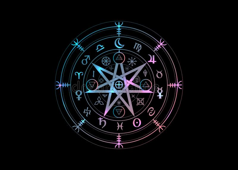 Wiccan symbol of protection. Set of Mandala Witches runes, Mystic Wicca divination. Ancient occult symbols, Earth Zodiac Wheel. Of the Year Wicca Astrological vector illustration
