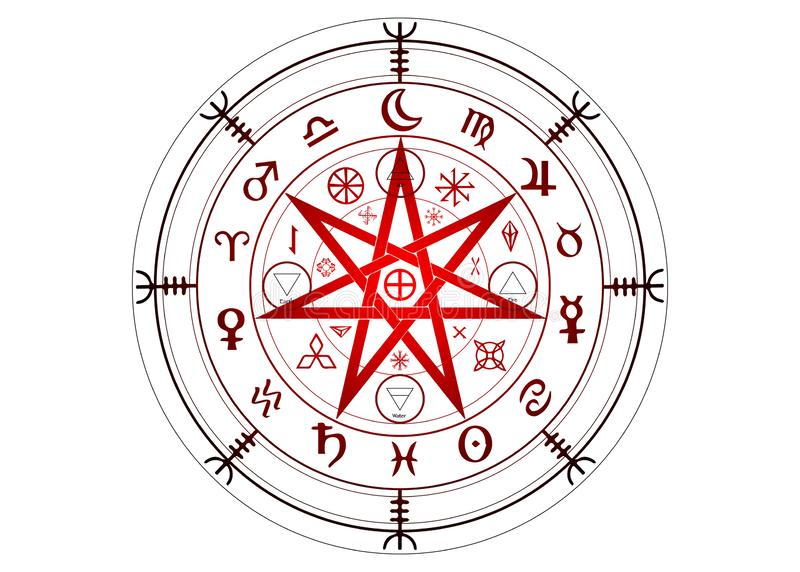 Wiccan symbol of protection. Set of Mandala Witches runes, Mystic Wicca divination. Ancient occult symbols, Zodiac Wheel signs. Wiccan symbol of protection. Set stock illustration