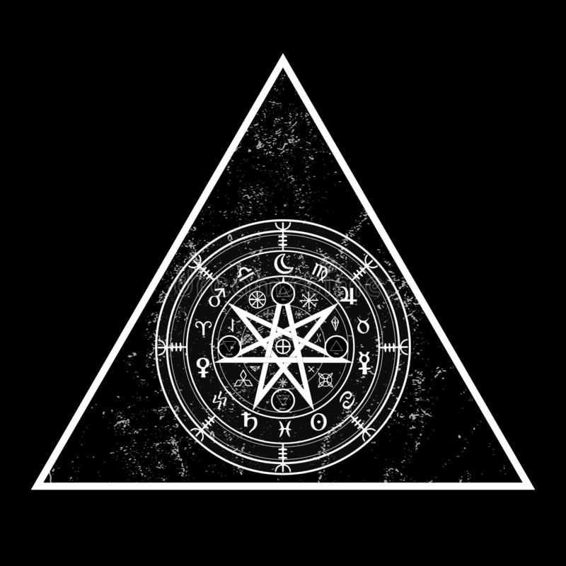 Wiccan symbol of protection. Triangle Mandala Witches runes, Mystic Wicca divination. Ancient occult symbols, Earth Zodiac Wheel. Of the Year Wicca Astrological stock illustration