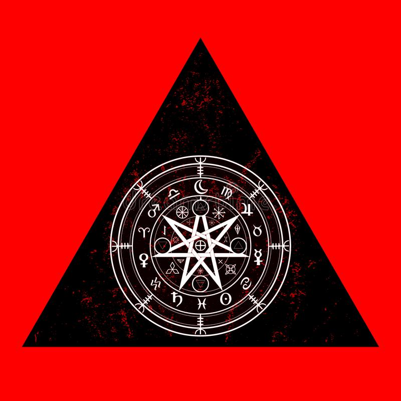 Wiccan symbol of protection. Triangle Mandala Witches runes, Mystic Wicca divination. Ancient occult symbols, Earth Zodiac Wheel. Of the Year Wicca Astrological royalty free illustration