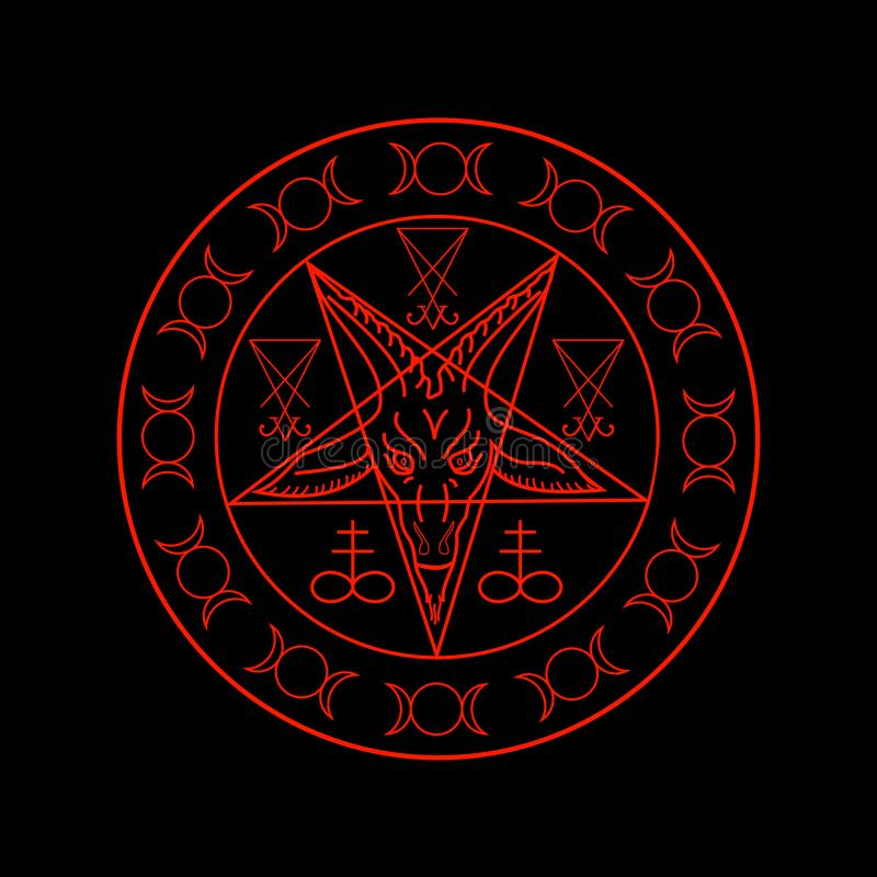 Cross of Sulfur, Triple Goddess, Sigil of Baphomet and Lucifer. Wiccan symbols- Cross of Sulfur, Triple Goddess, Sigil of Baphomet and Lucifer stock illustration