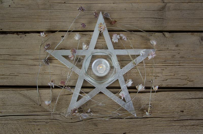 Wiccan symbols for divination ritual. Crystal ball and pentagram royalty free stock image