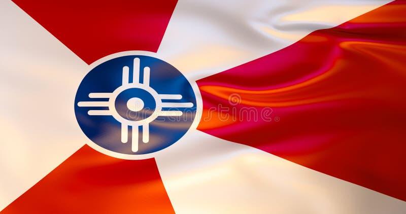 Wichita-Flagge im Wind Abbildung 3D vektor abbildung