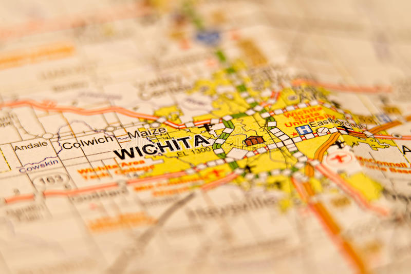 Wichita kansas city area map stock image
