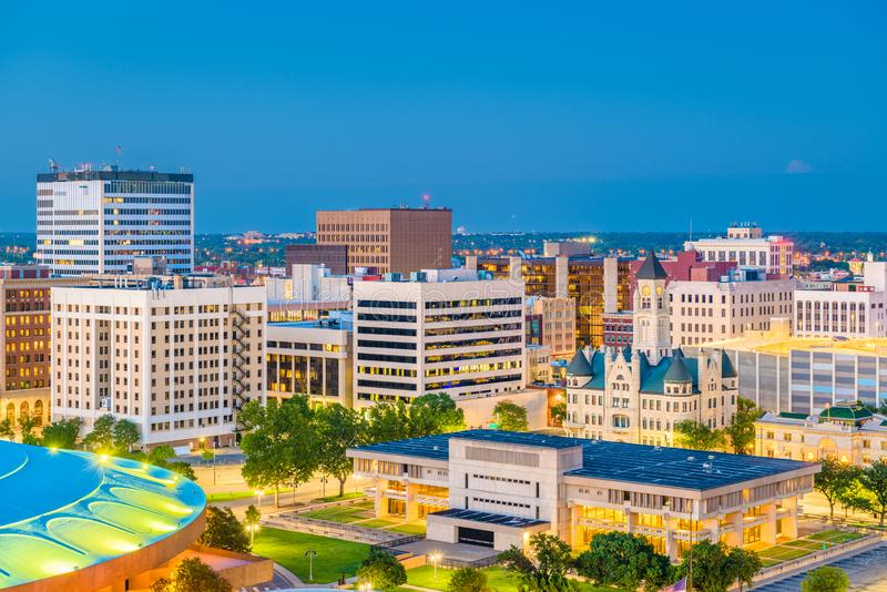 Wichita, Kansas, USA Downtown Skyline. At dusk stock photo