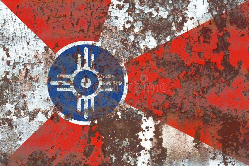 Wichita miasta dymu flaga, Kansas stan, Stany Zjednoczone Ameryka zdjęcia stock