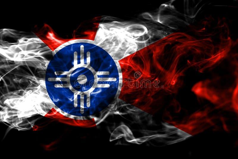 Wichita miasta dymu flaga, Kansas stan, Stany Zjednoczone Ameryka ilustracji