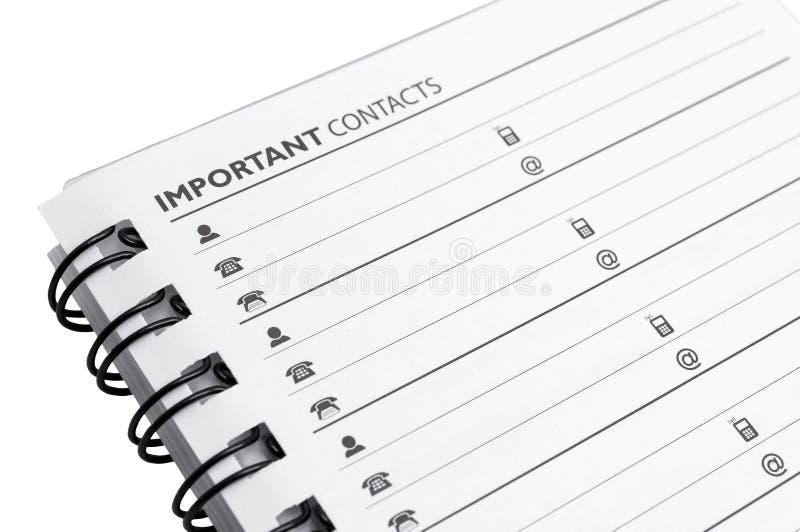 Wichtiges Kontaktleeres papier lizenzfreie stockfotografie