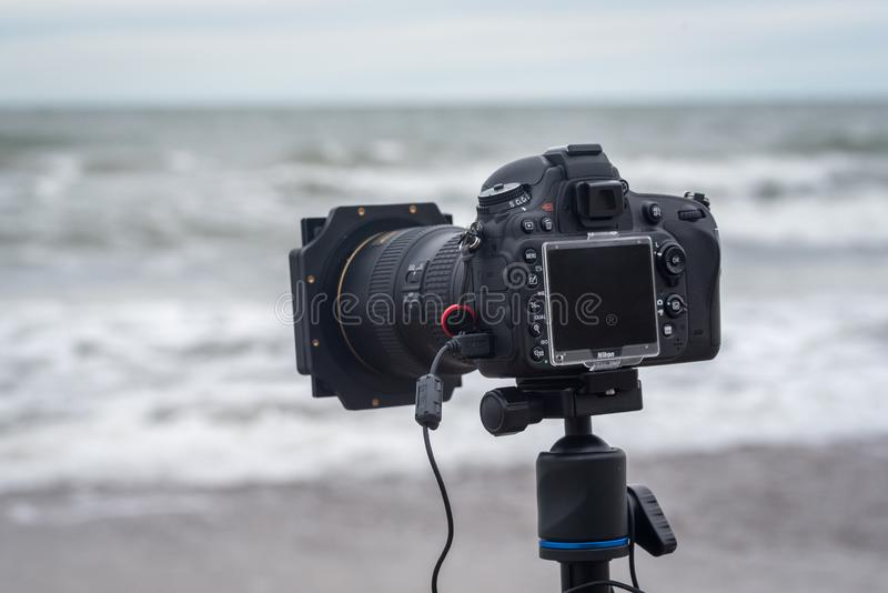Nikon D610 dslr camera on a tripod with filters for landscape photography. Wicie, Poland - October 31, 2016: Nikon D610 dslr camera on a tripod with filters for stock images