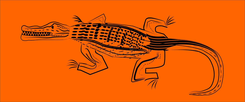 Wicked crocodile with teeth. Vector drawing. stock photos