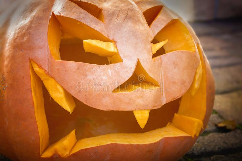 Wicked looking jack-o-lantern of a carved pumpkin stock image