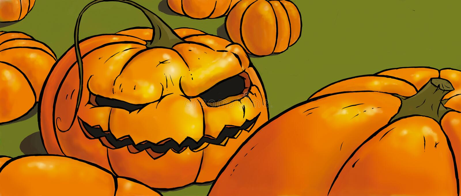 Wicked pumpkin royalty free stock image
