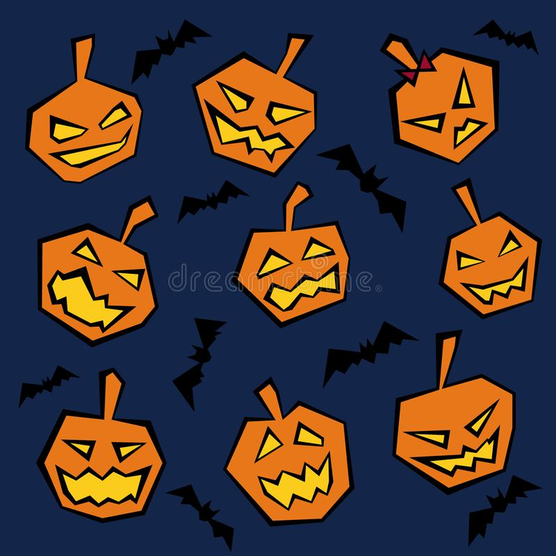 Wicked Pumpkins with Grimaces and Bats Halloween Theme. Wicked Pumpkins with Different Grimaces and Bats in the Sky Halloween Theme stock illustration