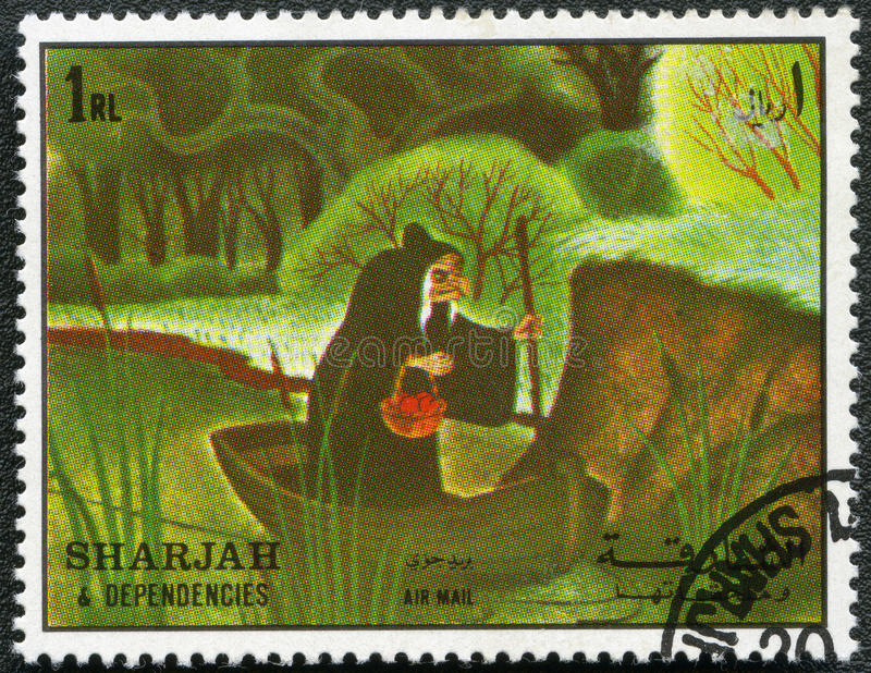 Wicked Queen. SHARJAH & DEPENDENCIES - CIRCA 1972: A stamp printed by Sharjah & Dependencies devoted fifty years of Walt Disney cartoon characters, shows Wicked stock illustration