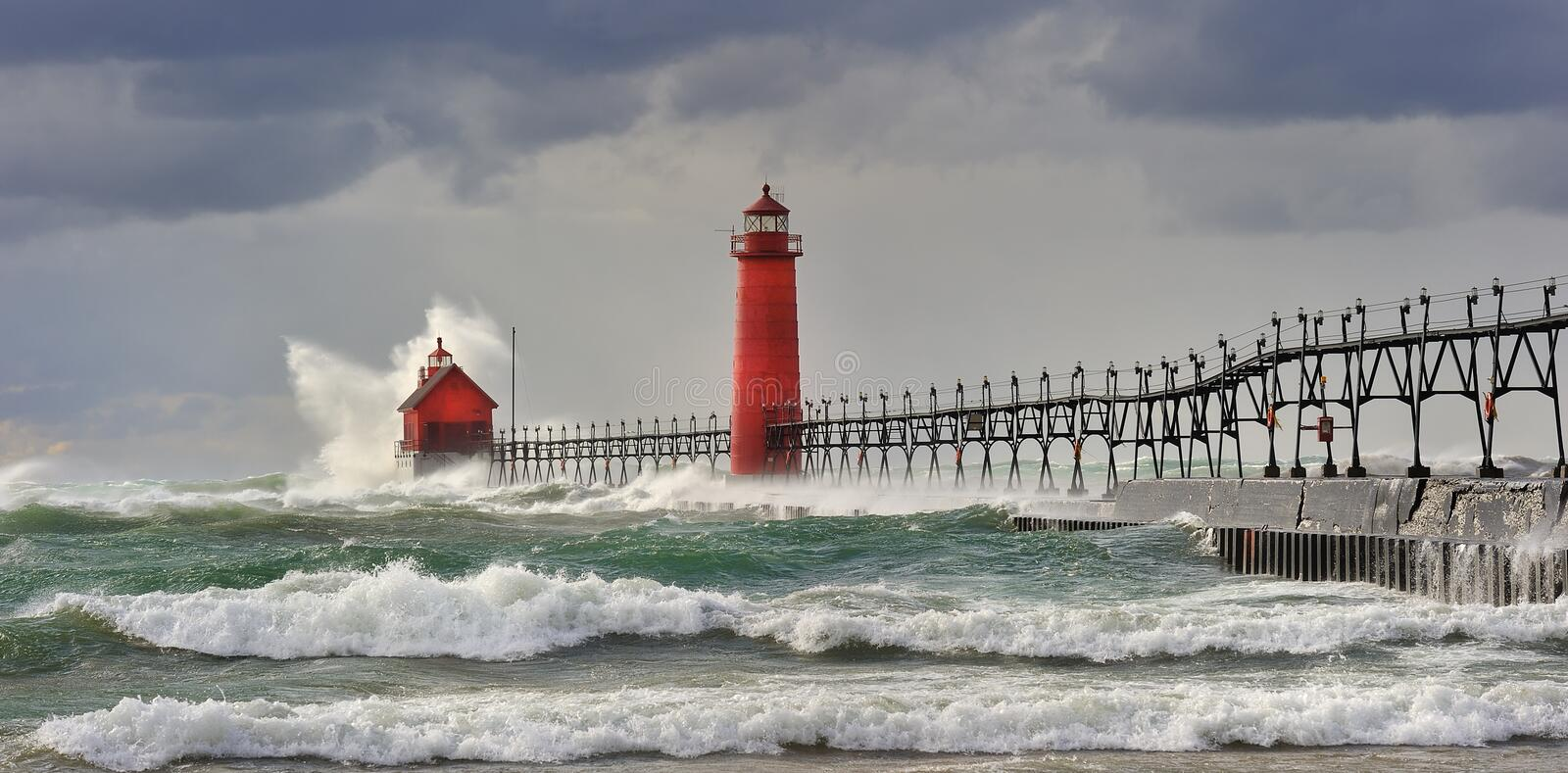 Wicked Wind Grand Haven Lighthouse royalty free stock photo