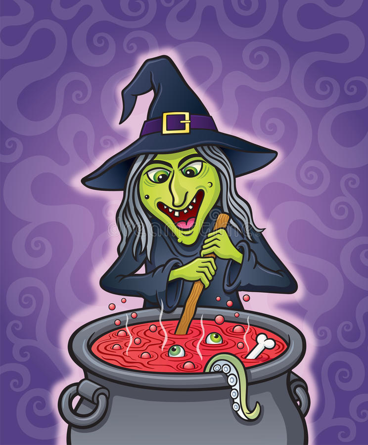 Wicked Witch Brewing Spell in Cauldron stock illustration