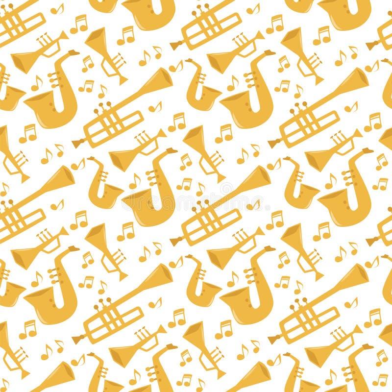 Wickeln Sie Musikerausrüstungsorchesters der Musikinstrumentwerkzeuge Musterhintergrund-Vektorillustration des akustischen nahtlo lizenzfreie abbildung