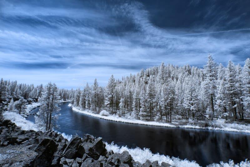 Wickelnder blauer Fluss lizenzfreie stockbilder