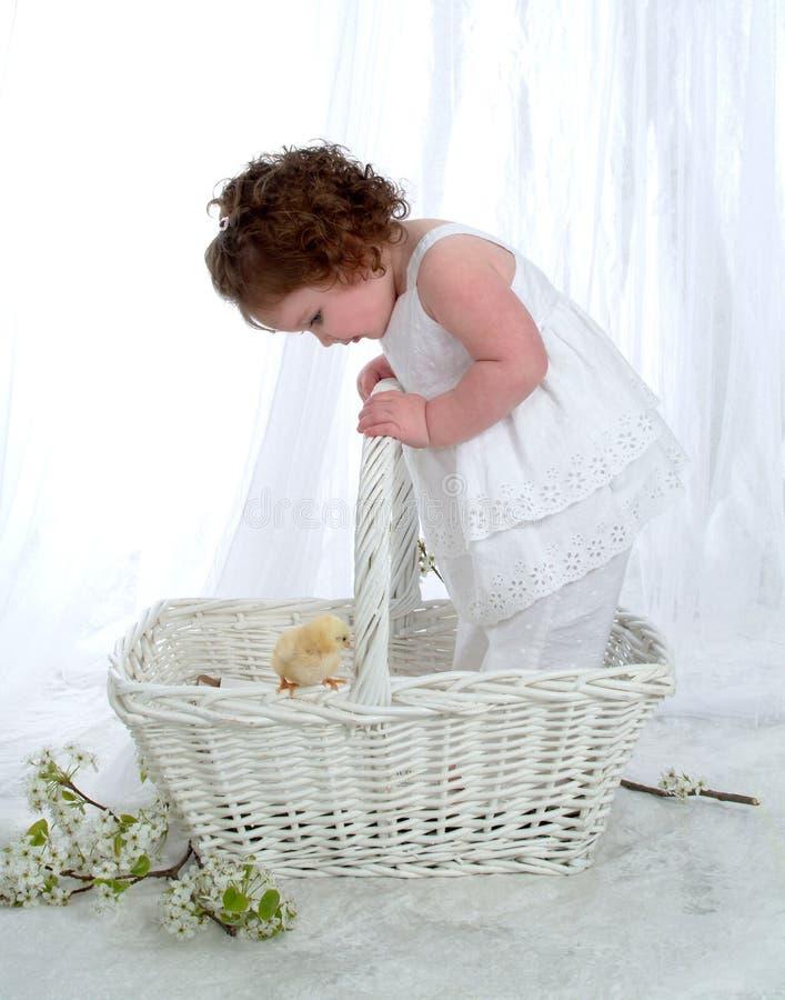 wicker девушки корзины младенца стоковые изображения rf
