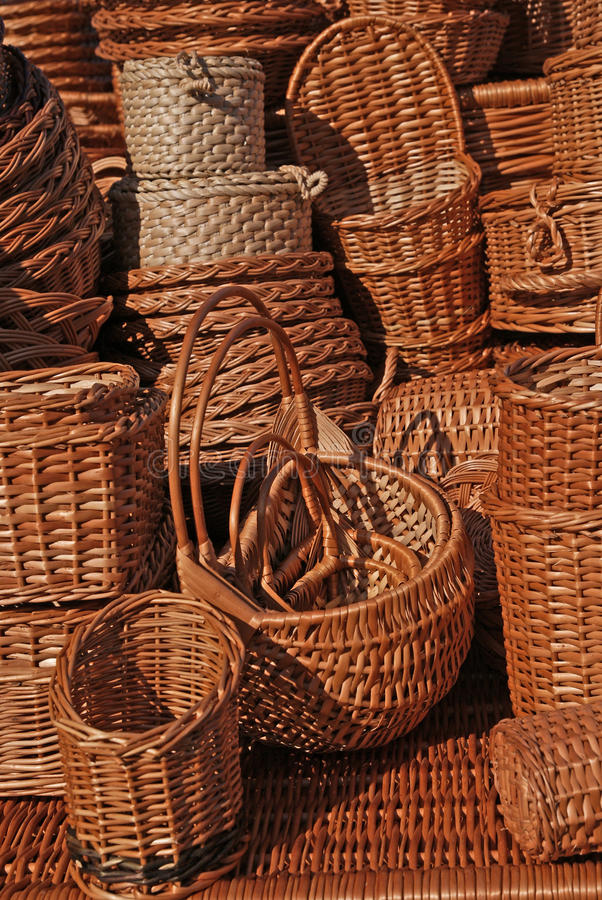 Wicker. Many wicker things in market royalty free stock photo