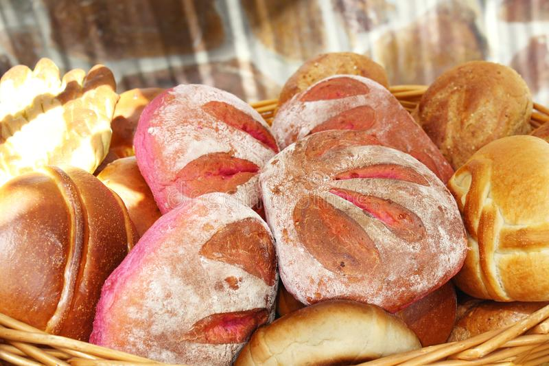 Wicker basket containing different types of bread of Tenerife royalty free stock image
