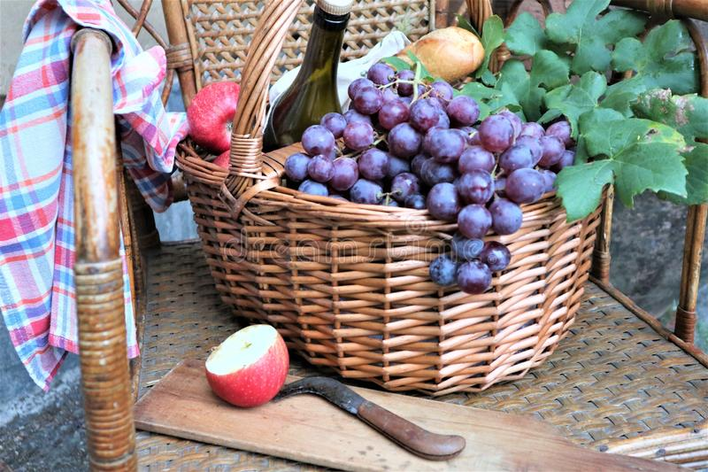 Wicker basket filled with grapes and wine bottle stock photo