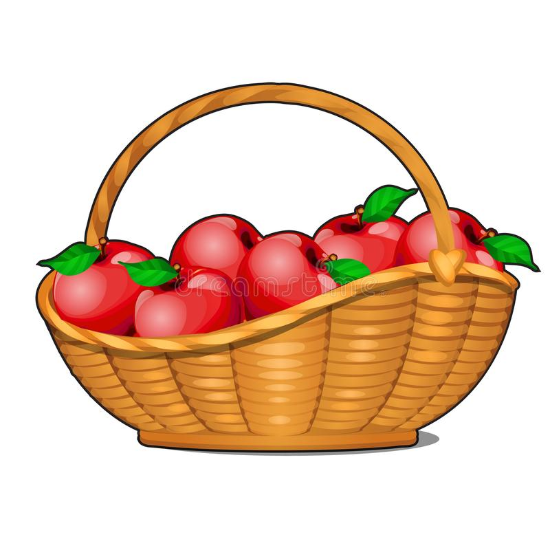 Wicker basket filled with ripe red apples isolated on white background. Food fitness menu. Vector cartoon close-up stock illustration