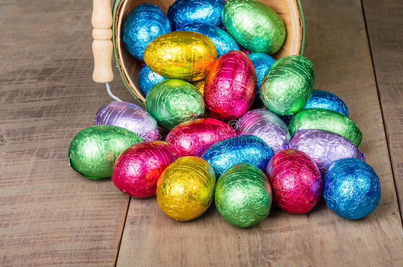 Download Wicker Basket Of Foil Easter Eggs Stock Image - Image: 29475245
