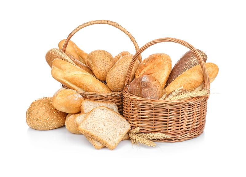 Wicker basket with fresh bread royalty free stock photo