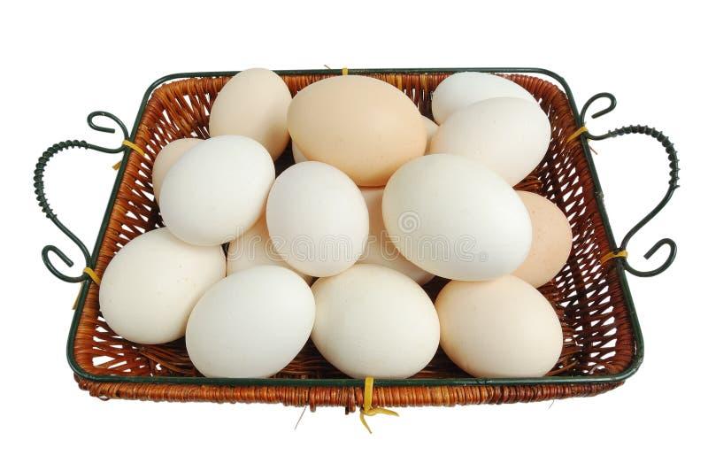 Wicker basket with fresh eggs stock photo