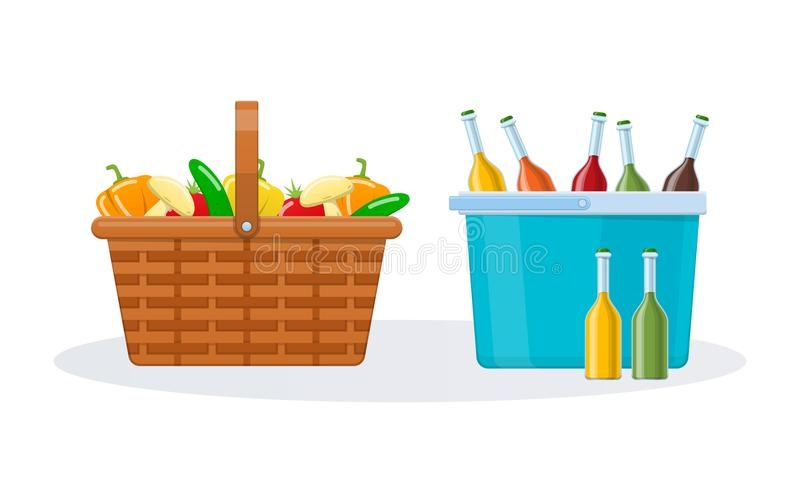 Wicker basket with fresh vegetables and plastic basket with drinks. stock illustration
