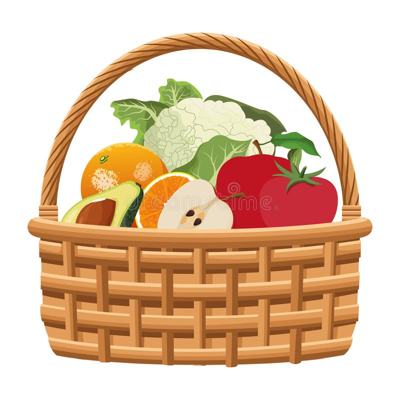 Wicker basket with fruit and vegetables royalty free illustration