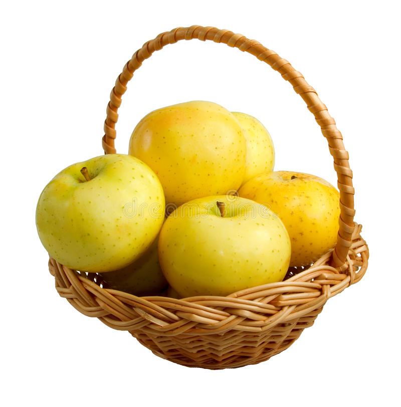 Download Wicker Basket With Golden Apples Stock Image - Image: 11468815
