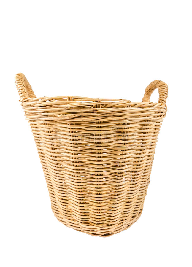 Wicker basket. Isolated on white background royalty free stock images
