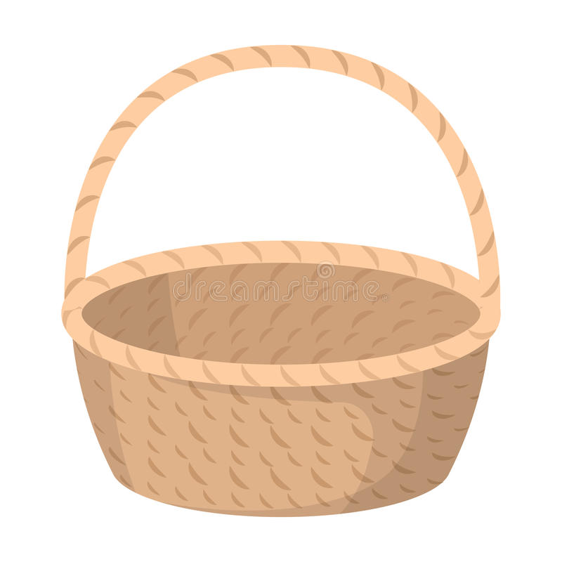 Wicker basket made of twigs. Easter single icon in cartoon style rater,bitmap symbol stock illustration. Wicker basket made of twigs. Easter single icon in royalty free illustration