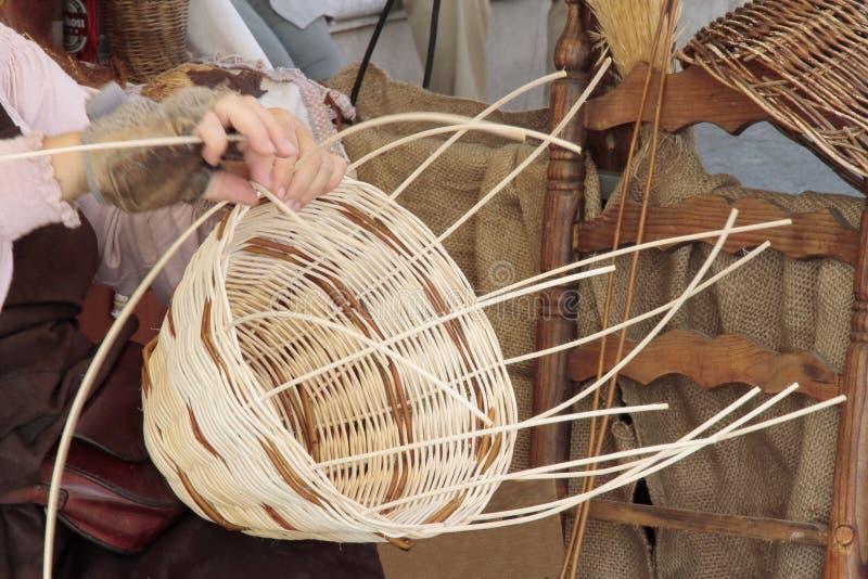 Wicker basket maker royalty free stock photo