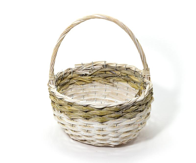 Wicker basket of natural materials on a white background folk crafts stock images