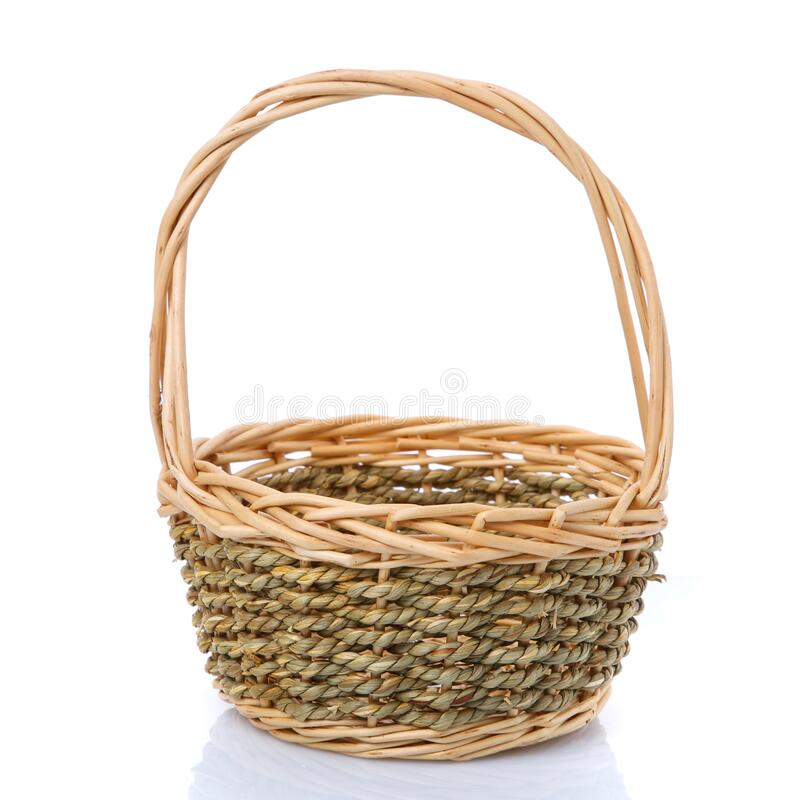 Wicker basket from a natural vine for harvesting. Isolated on white stock photography