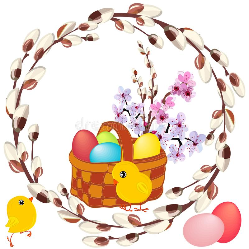 Wicker basket with painted eggs , spring bouquet and yellow chickens in a round frame of flowering willow royalty free illustration