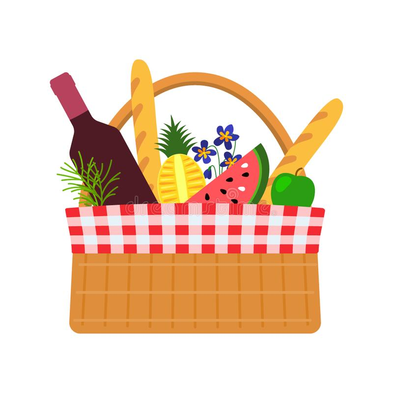 Wicker basket for a picnic with food and flowers. Flat vector illustration isolated on white background vector illustration