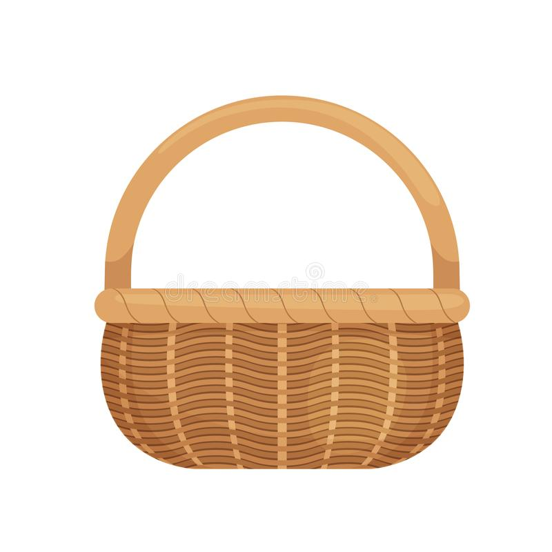 Wicker basket with picnic handle. Cartoon style. Eco-friendly. Isolated on white background. royalty free illustration