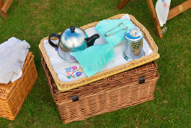 Wicker basket set for afternoon tea stock image