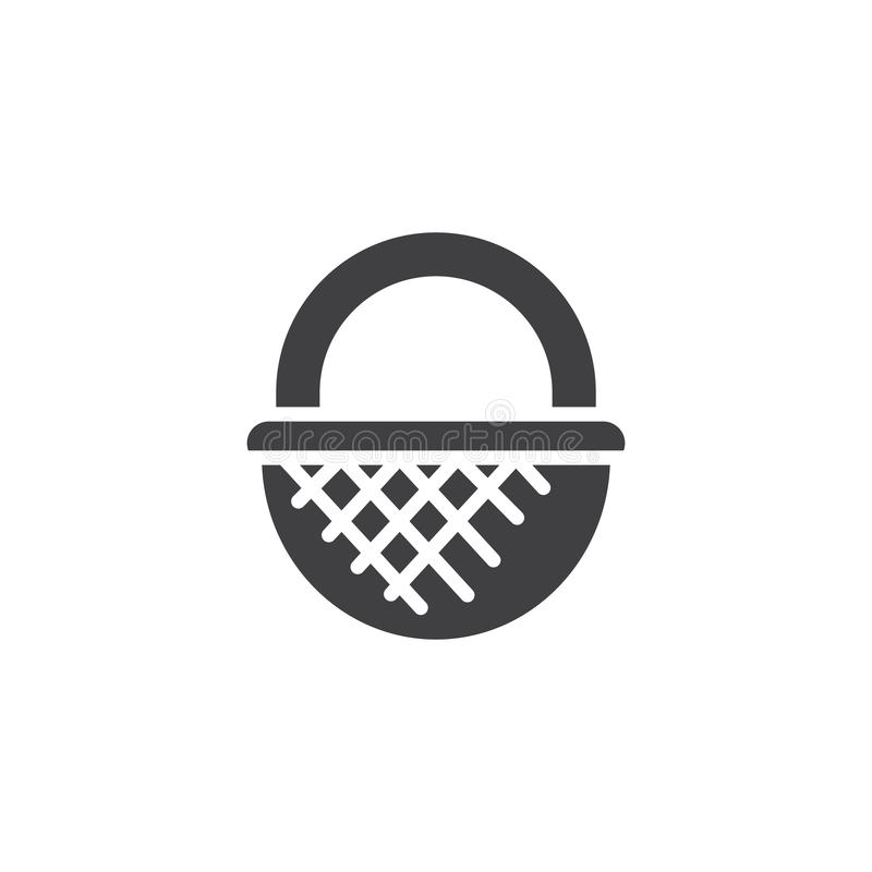 Wicker basket vector icon. Filled flat sign for mobile concept and web design. Straw basket simple solid icon. Symbol, logo illustration. Pixel perfect vector stock illustration