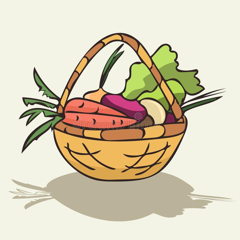 Wicker basket with vegetables vector royalty free illustration