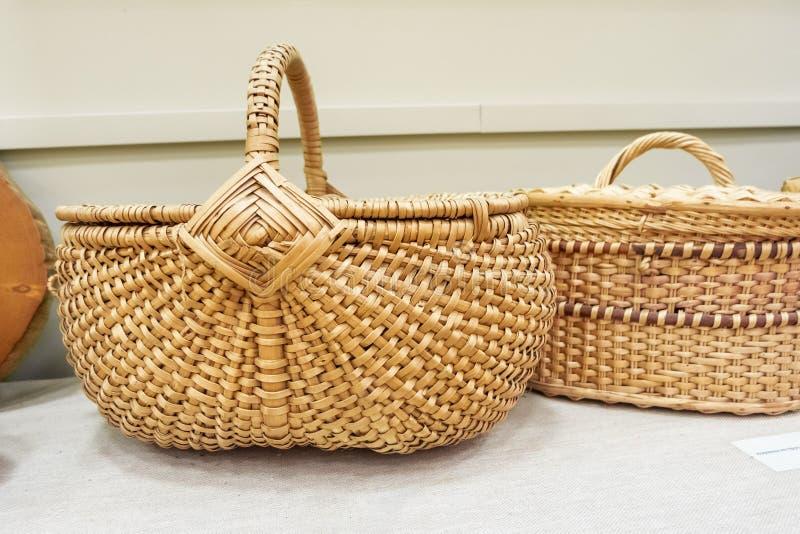 Wicker baskets with lid. Eco retro baskets stock photo