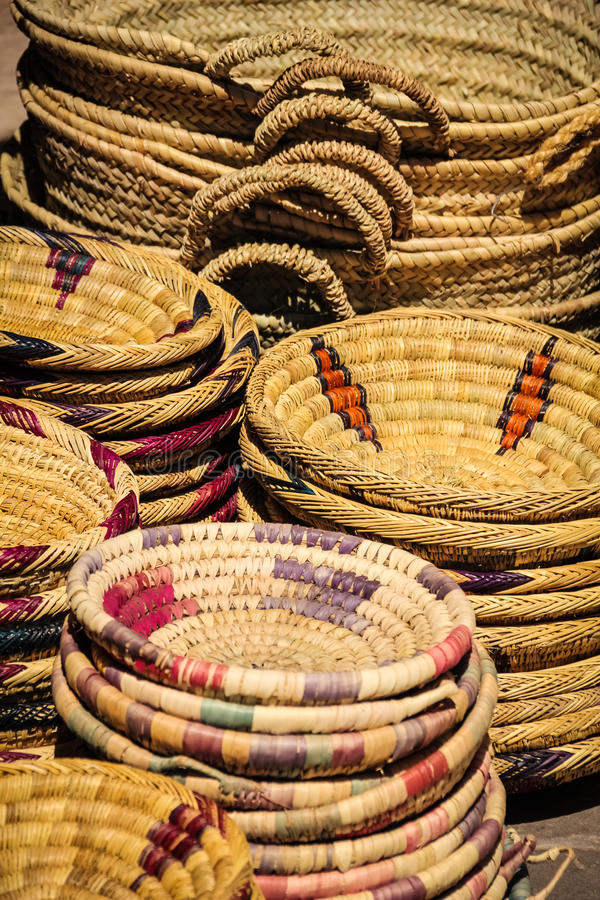 Wicker baskets .Ouarzazate. Morocco. Stacked wicker baskets .Ouarzazate. Morocco stock photo