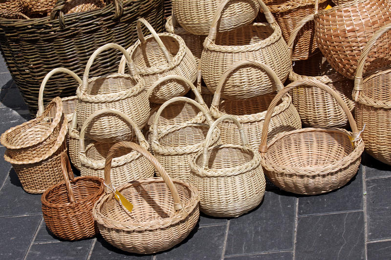 Wicker Baskets On Sale Royalty Free Stock Photo