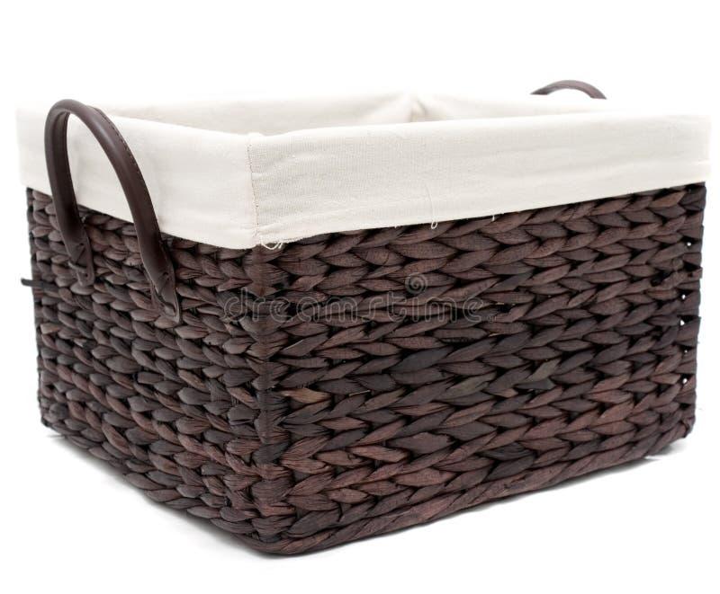 Wicker bathroom basket stock photography