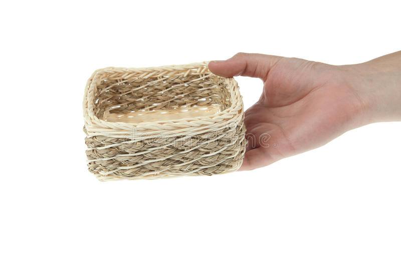 Wicker Box With Hand Royalty Free Stock Photo